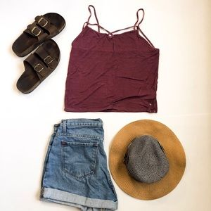 Burgundy Distressed Soft and Sexy AEO Tank